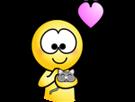 Sticker jvc coeur saumon chaton amour