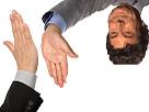 Sticker risitas jesus main salut check inverse retourne a lenvers tape