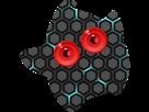 Sticker other luma robot yeux rouges bioniques carbone hexagones terminator etoile cfw