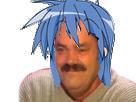 Sticker risitas kj kikoojap konata cheveux bleus gouffre