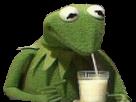 Sticker kermit boit un verre de lait sans fond transparent bestreup reupload brup