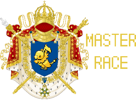 Sticker politic bonapartisme divin pijako pokemon master race maitre course blason armoiries